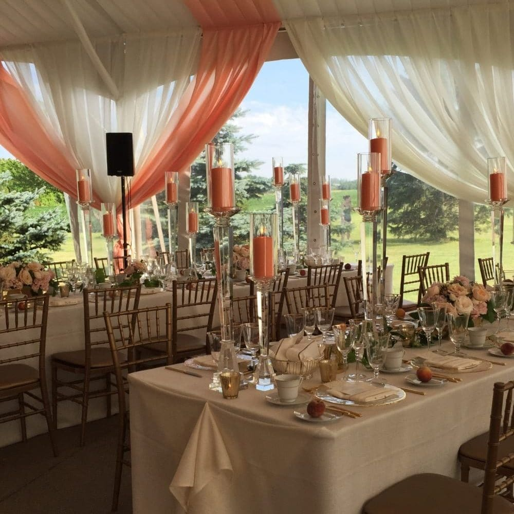 Create dramatic style with tent liner and glass walls