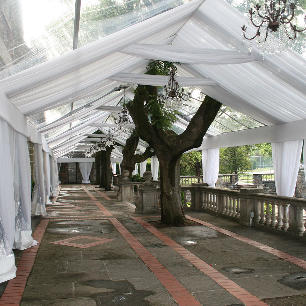 Clear tent with fabric tent liner offer an elegant look