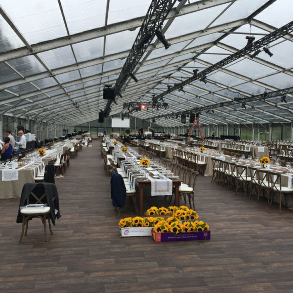 CLearspan tent with clear walls and roof provides a unique and striking wedding or event space