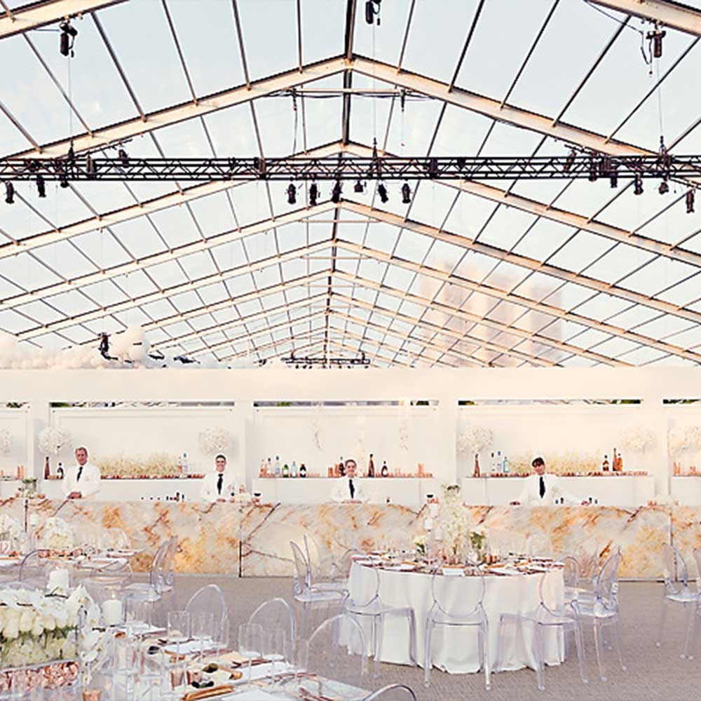 Clearspan tent with clear roof creates a beautiful wedding experience