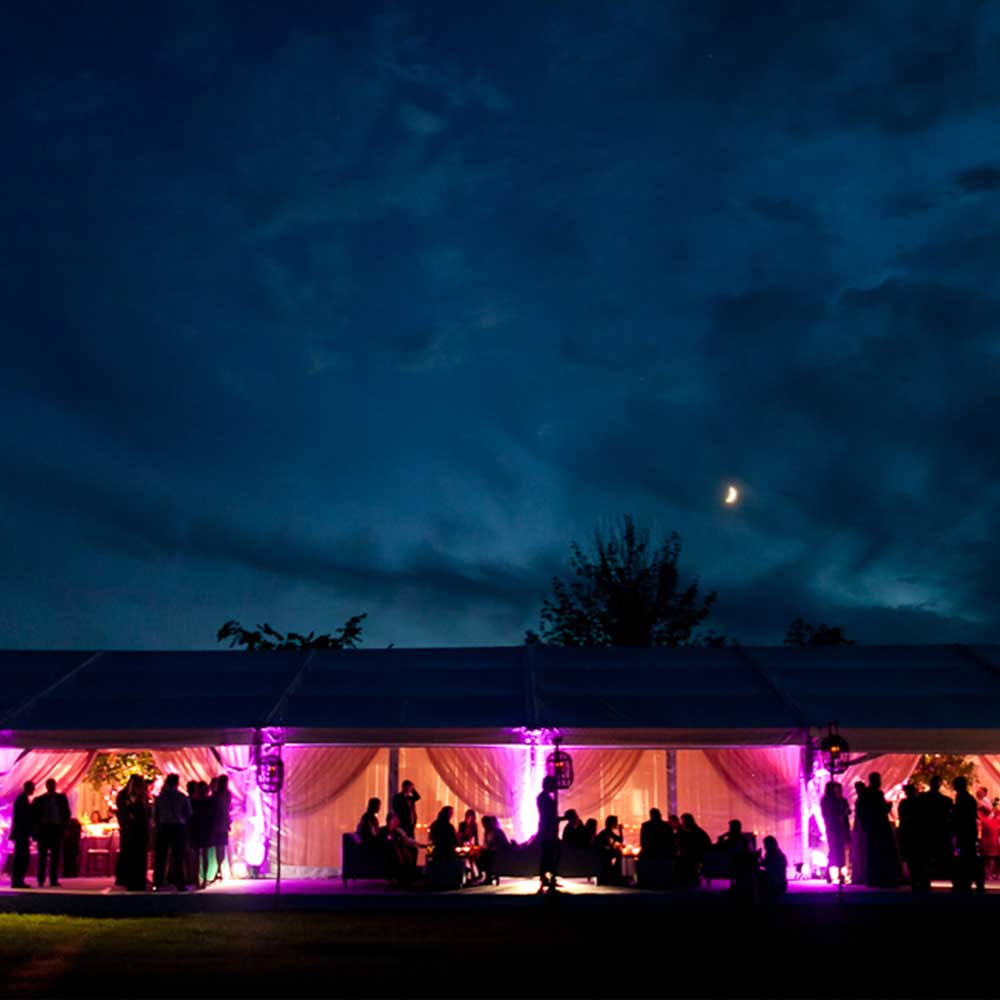 Clearspan tent wedding at night