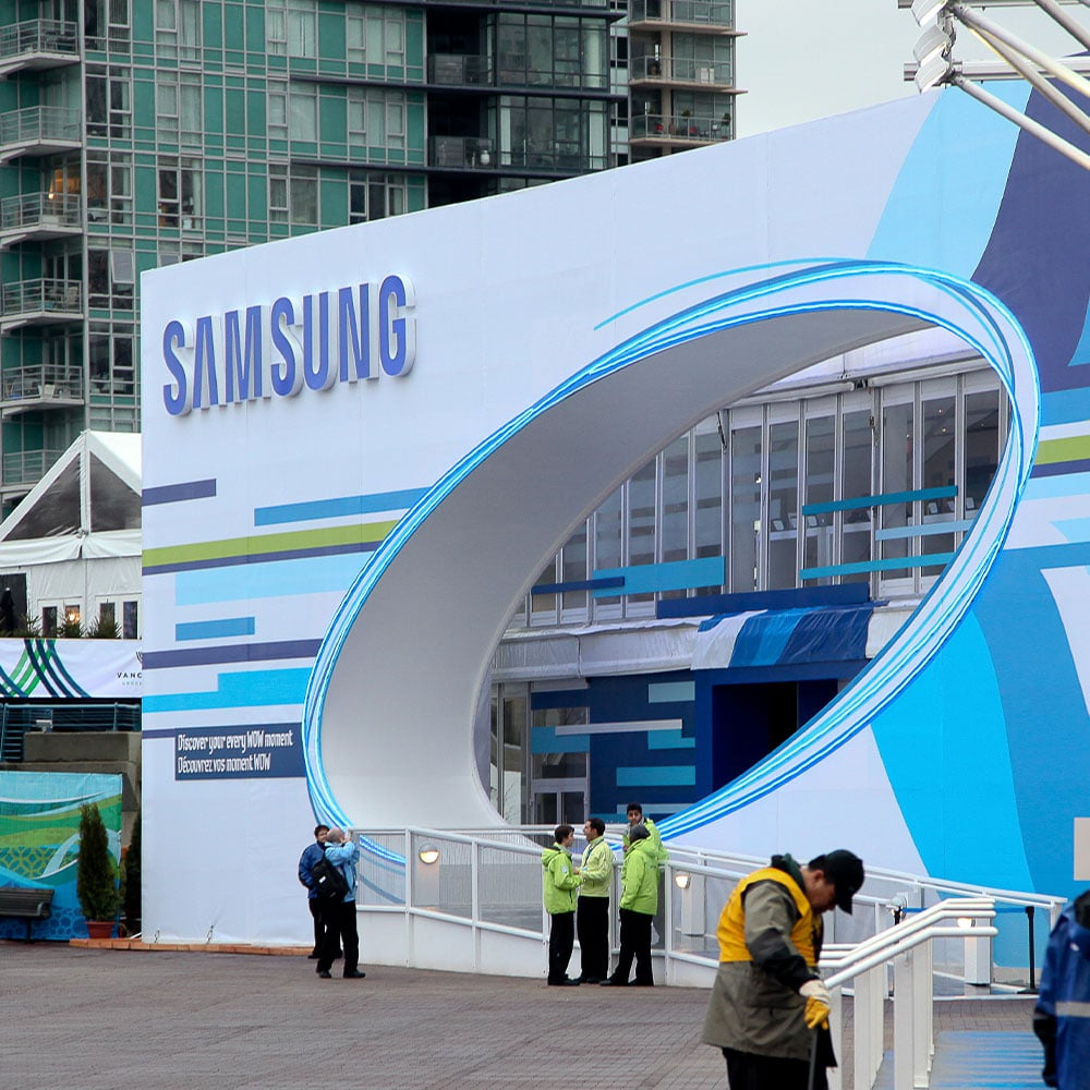 The Samsung Olympic tent venue included a double decker structure