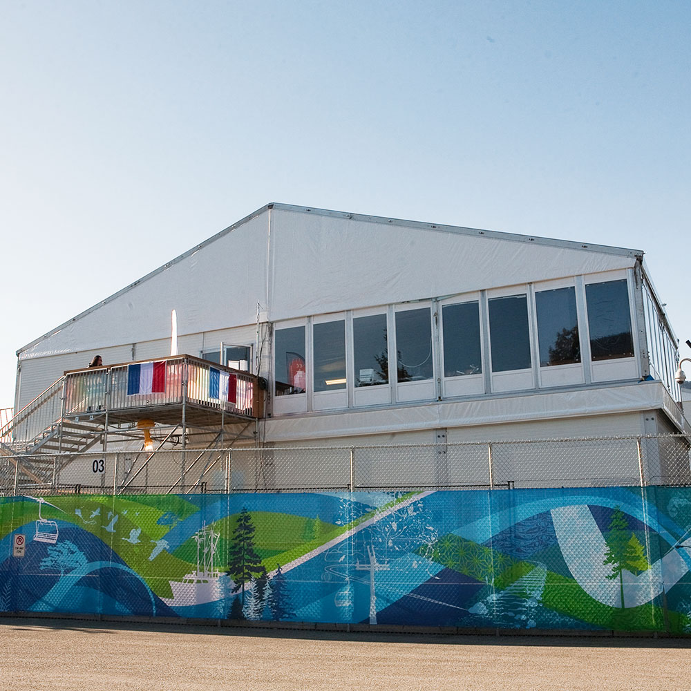 DOuble Decker Structure used for Olympic broadcast tent