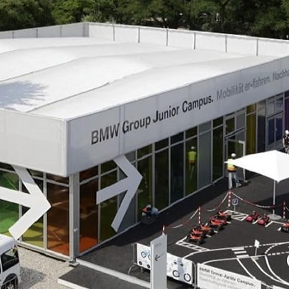 BMW 3D Tent Render with Flat Top Facade