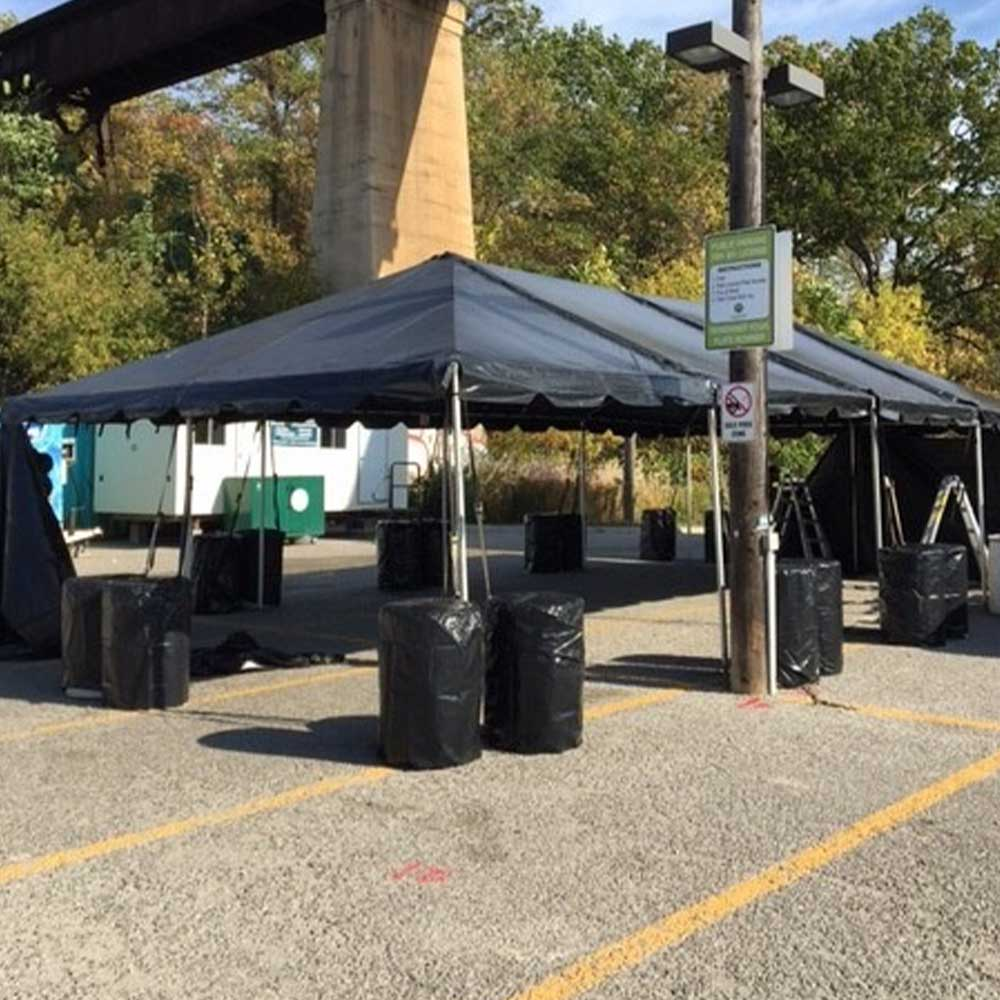 Frame tents with black tent cover