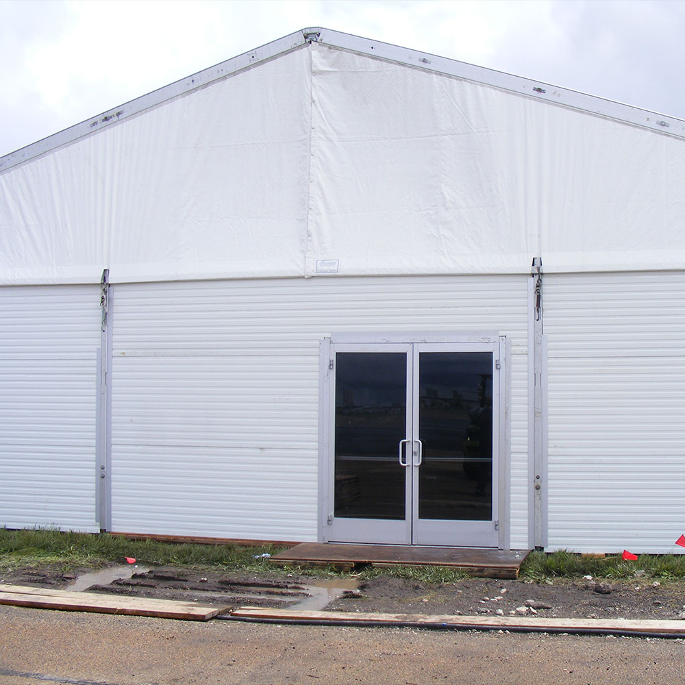 Insulated Hard Walls can be coupled with glass doors to provide a finished look and security for your temporary structure
