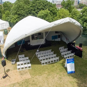 Saddlespan tents are perfect for temporary stages and add a touch of character to any event