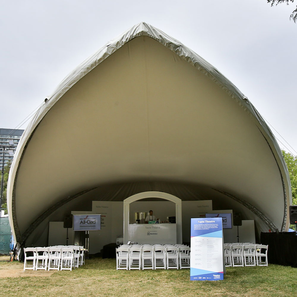 Saddlespan tents make for easy and elegant temporary stage cover