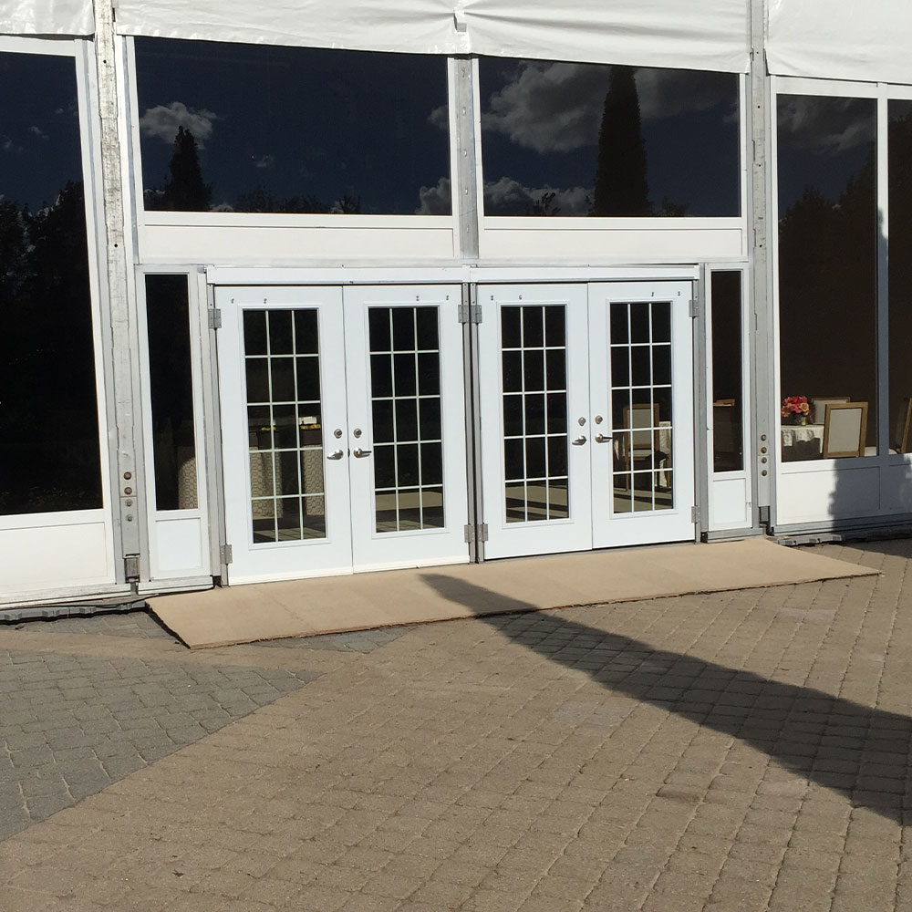 Double French tent doors with glass