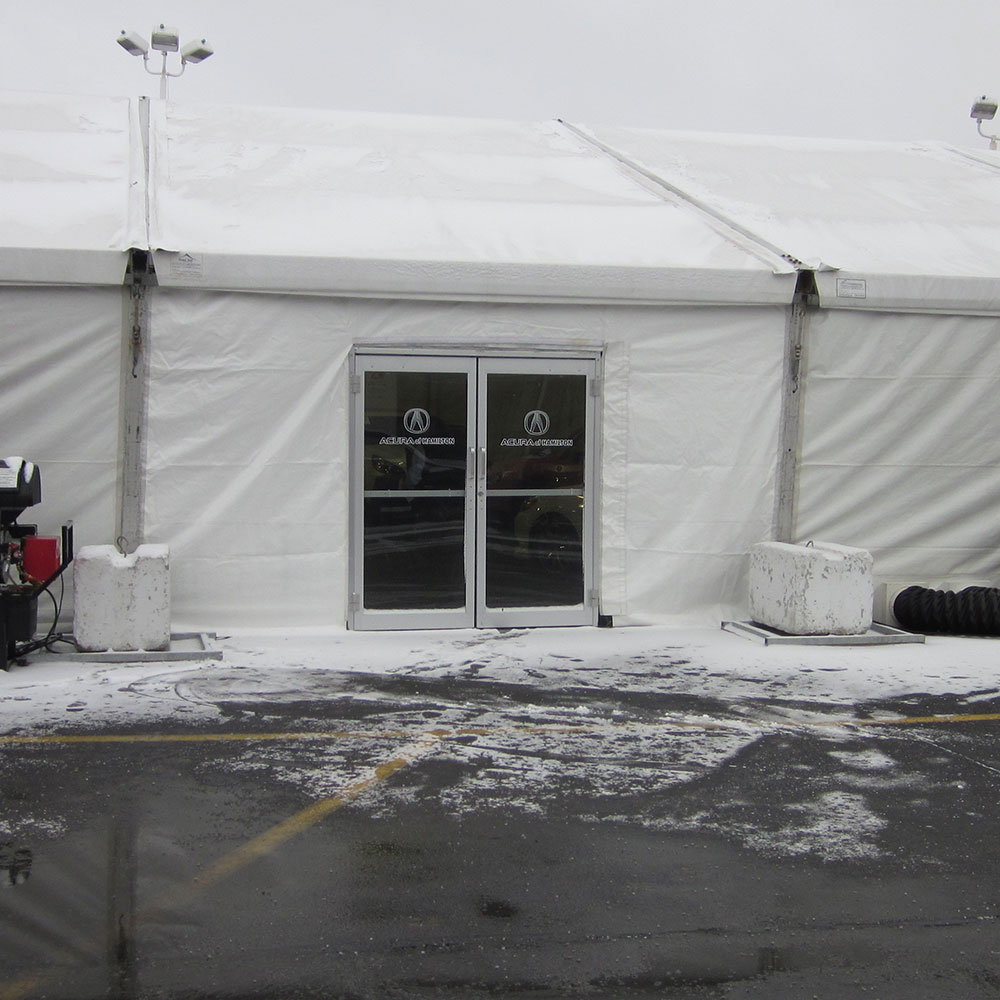 Double glass doors on event tent