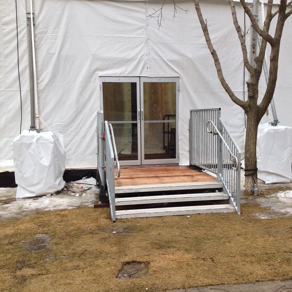 Industrial glass tent doors