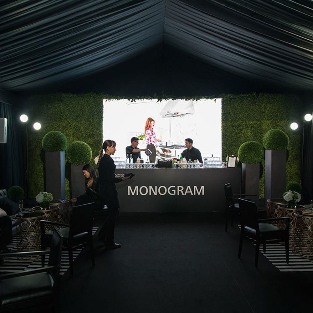 Black Tent Liner offers a striking contrast to the traditional white tent atmosphere
